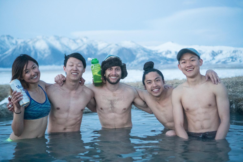 Sender one family in hot spring